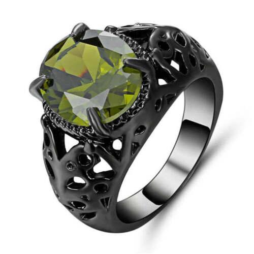 Nouveaux bijoux Olive Cut Black Rhodium Plaqué Bagues De Fiançailles Taille 8