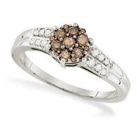 Pretty 10k White Gold Chocolate Brown & White Diamond Cluster Ring .36ct