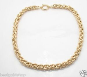 18-034-Technibond-Textured-Spiga-Wheat-Chain-Necklace-14K-Yellow-Gold-Clad-Silver