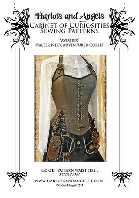 Steampunk / Pirate corset Halter neck style adventurer corset Paper sew Pattern