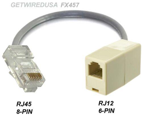 RJ12 RJ11 6P6C 6-PIN FEMALE to RJ45 CAT5 ETHERNET 8P8C 8PIN MALE NETWORK ADAPTER