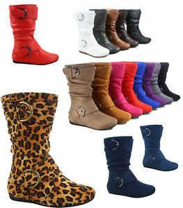 12-Colors-Cute-Causal-Flat-Buckle-Zip-Mid-Calf-Girl-039-s-Kid-039-s-Boots-Size-9-4-NEW