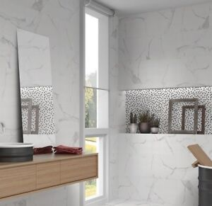 palace white carrara marble effect flat & wave gloss