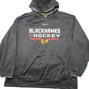 Reebok Men's XL Gray Chicago Blackhawks Center Ice Hoodie Sweatshirt NHL