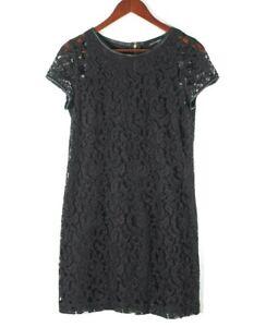 Club Monaco Womens Black Size 6 Small Dress Lace Short Sleeve Leather Trim Neck