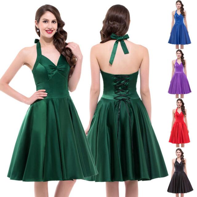 HALTER VINTAGE Rockabilly 1950s pinup HOUSEWIFE Swing Flare Dance Evening Dress