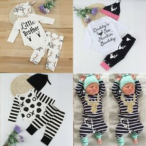 7aa2f6797838 Newborn Baby Boy Little Girl Tops Romper +Long Pants Hat Outfits Set ...