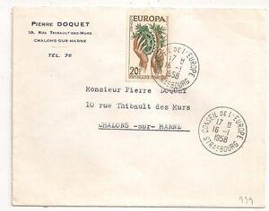 STRASBOURG-Bas-Rhin-CONSEIL-DE-L-039-EUROPE-EUROPA-20F-sur-ENVELOPPE-1958-L939