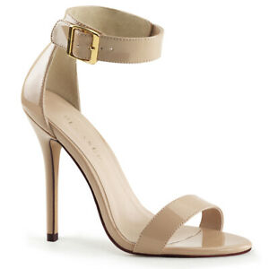 Pleaser-AMUSE-10-Women-039-s-Cream-Patent-High-Heel-Closed-Back-Buckle-Strap-Sandals