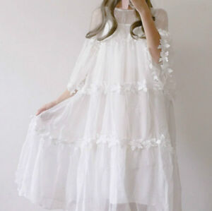 Japanese-Women-Girls-Lolita-Mesh-Sheer-Dress-Floral-Pleated-Flare-Sleeve-A-line
