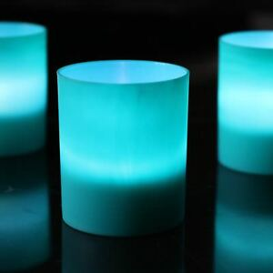 Image Is Loading Teal Green Tea Light Candle Holders With White