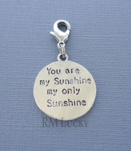 SUN Message Dangle Clip On Charm FitsLink Chain Floating locket Necklace C206