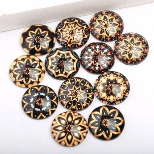10 Mandala Mix Patterns Cabochons Mixed Round Glass Cabochon Flat Back Finding
