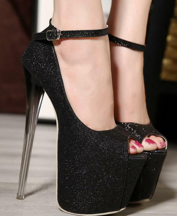 Womens Womens Womens 19cm Nightclub Bling Sequins Sexy Platforn High Heel shoes Sz35-40 Sexy 74cdda
