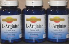 3 x L-Arginine Amino Acid (Free Form) 1500mg  600 Capsules Freshest High Quality