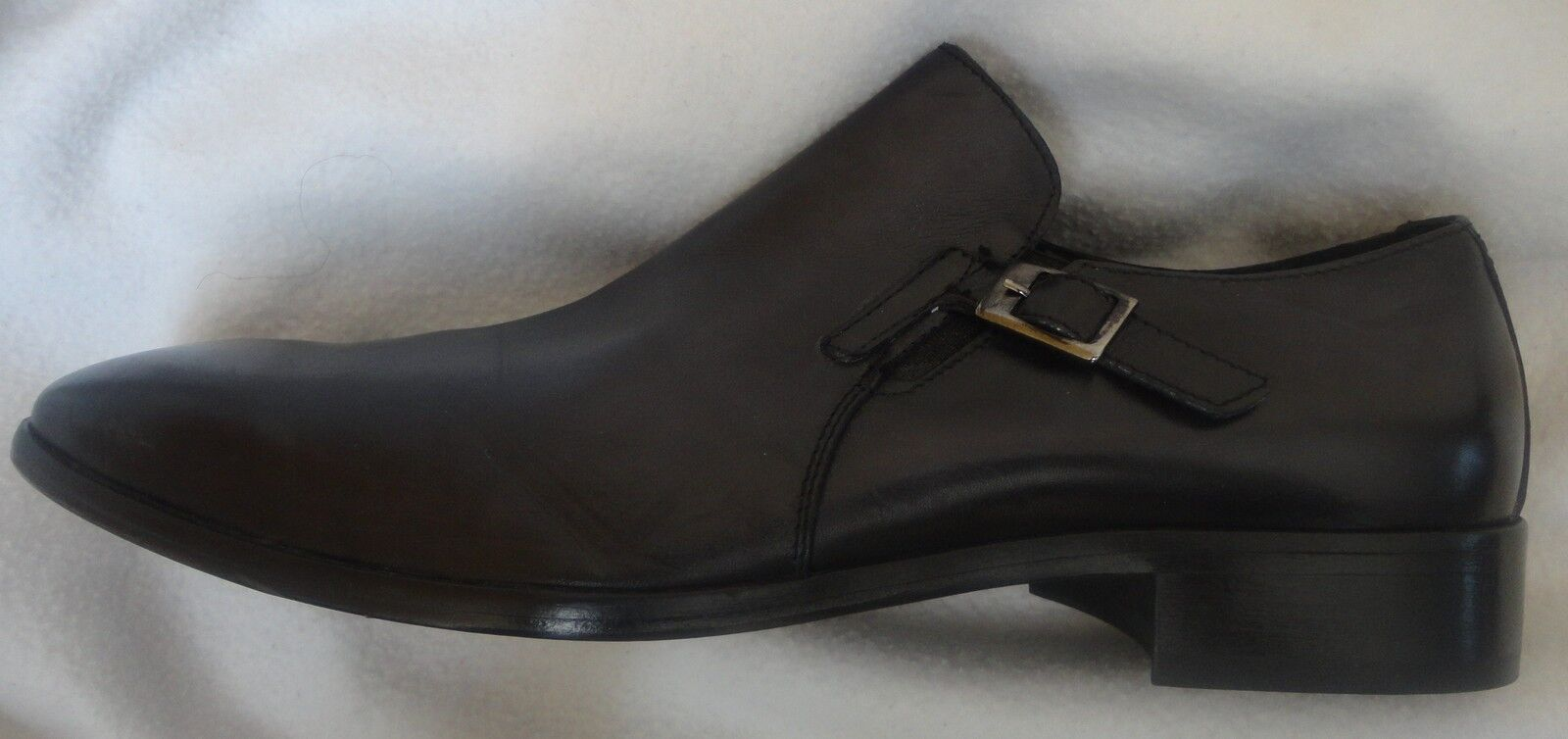 ITALIAN LEATHER SLIP ON FOR MEN BLACK SHOES SIZE US 9.5 EURO 42 NEW