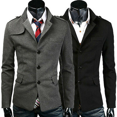 FASHION Mens Pea Coat Single Breasted Formal Winter Jacket Overcoat Parka S~2XL