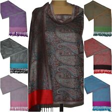 Pashmina Style Schal Tuch Pareo Schleier Dupatta Indisch Stola Paisley Gewebt 19