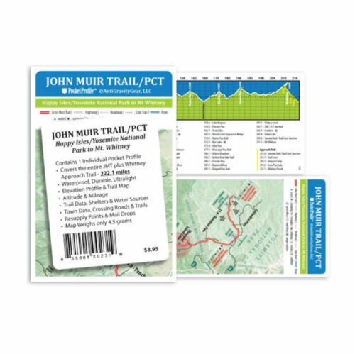 John Muir Trail//PCT Poche Profil carte