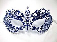 Blue Crystal Beautiful Eyes Laser Cut Venetian Mask Masquerade Metal