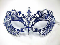 Blue Crystal Beautiful Eyes Laser Cut Venetian Mask Masquerade Metal