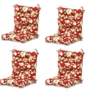 Details About Modern Red Floral Outdoor High Back Chair Cushion Set Of 4 Thick Patio Seat Pads