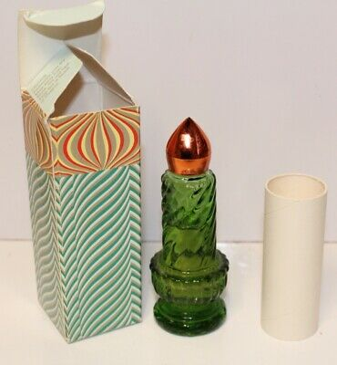 Green Glass Avon Christmas Candles Sweet Honesty Cologne Bottles