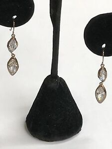 925-Sterling-Silver-Drop-Dangling-Gold-Tone-Earrings-With-Marquise-Topaz-Stones