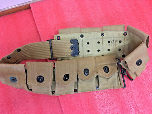 F5-PB-amp-CO-July-1918-Military-clip-belt-holder-10-pouch-Tan-canvas-WWI-WWII