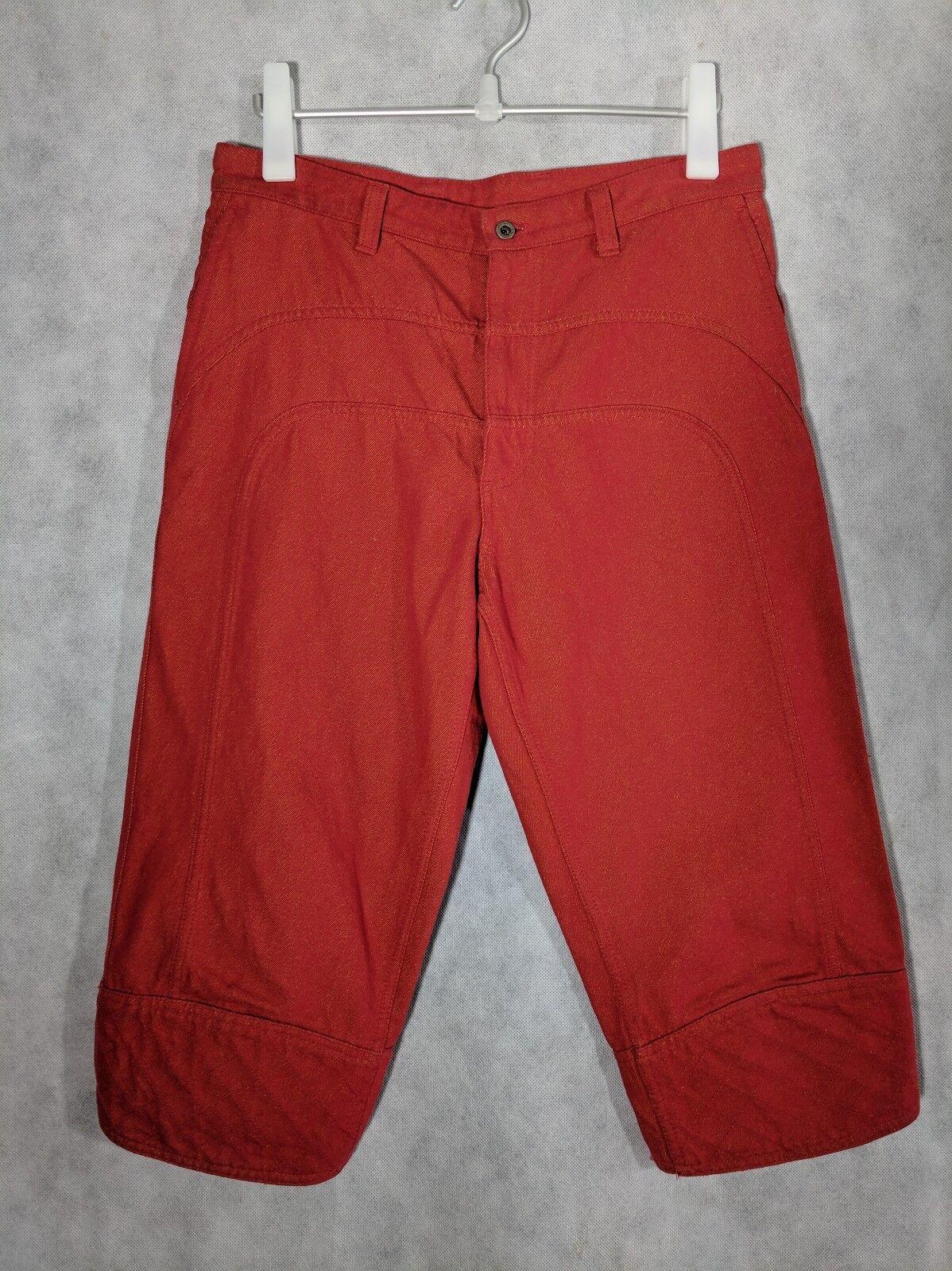 Issey Miyake Red Denim Cropped Jeans Shorts 32