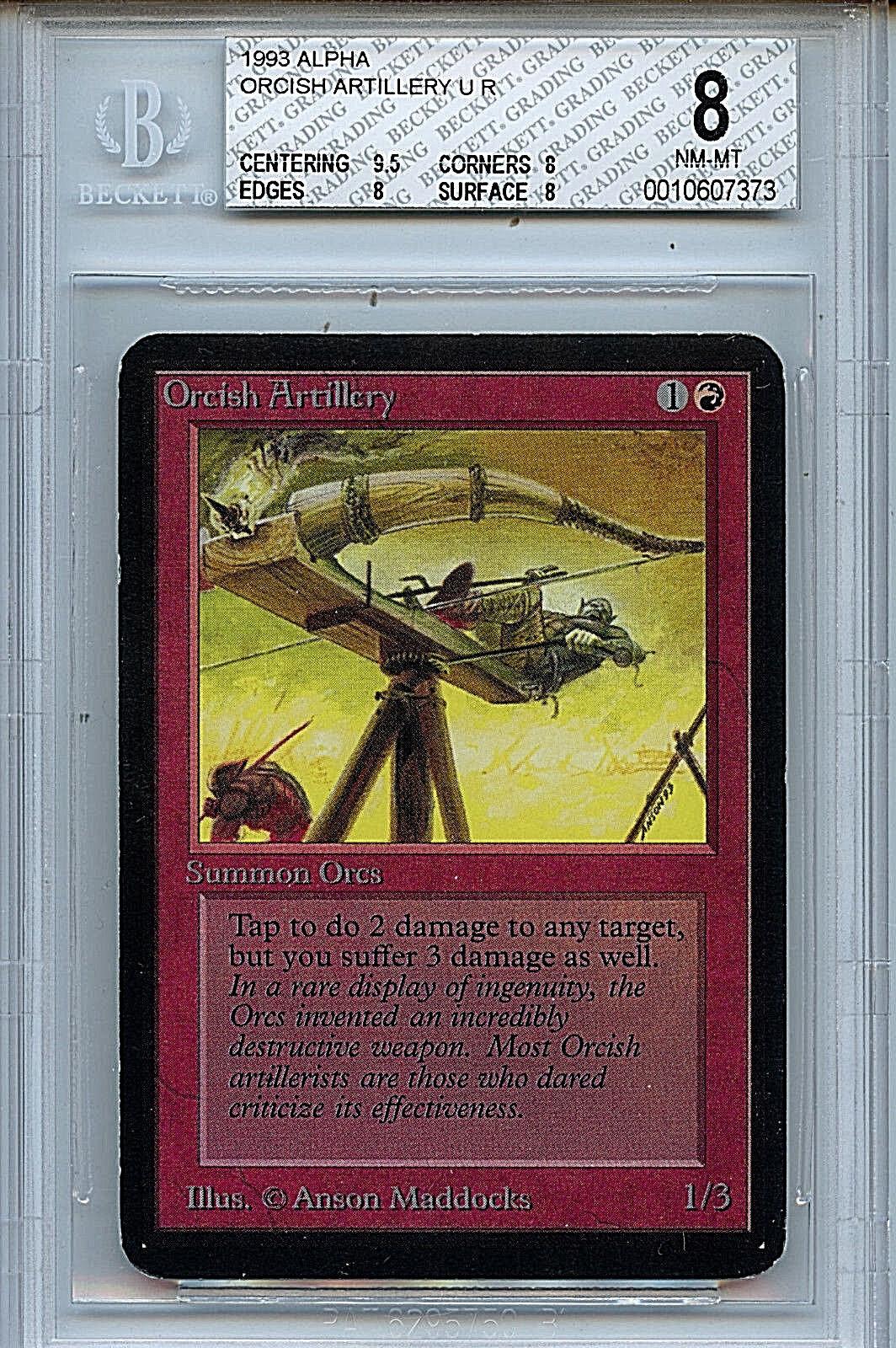 MTG MTG MTG Alpha Orcish Artillery BGS 8.0 NM-MT Card Magic the Gathering WOTC 7373 9bc3a9