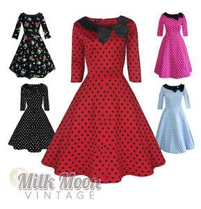 Vintage-Dress-1950s-1960s-Party-Red-Black-Polka-Dot-Sleeve-Collar-Size-UK-6-26