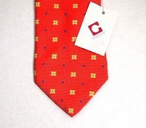 NWT-Gherardini-Firenze-Mens-Necktie-Tie-Orange-Yellow-Floral-60-034-100-Silk-Italy