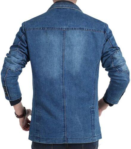 chouyatou Men/'s Classic Notched Collar 3 Button Tailoring Distressed Denim Blaze