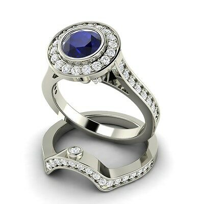 2.06 Carat Natural Blue Sapphire & SI Diamond Engagement Ring & Wedding Band