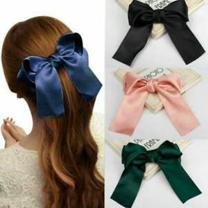 Vogue-Ribbon-Large-Bow-Hairpin-Hair-Clip-Women-Girls-Satin-Hair-Accessories-Chic