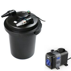 3500 gal pressure pond filter w 13w uv sterilizer koi for Koi fish pond water pump
