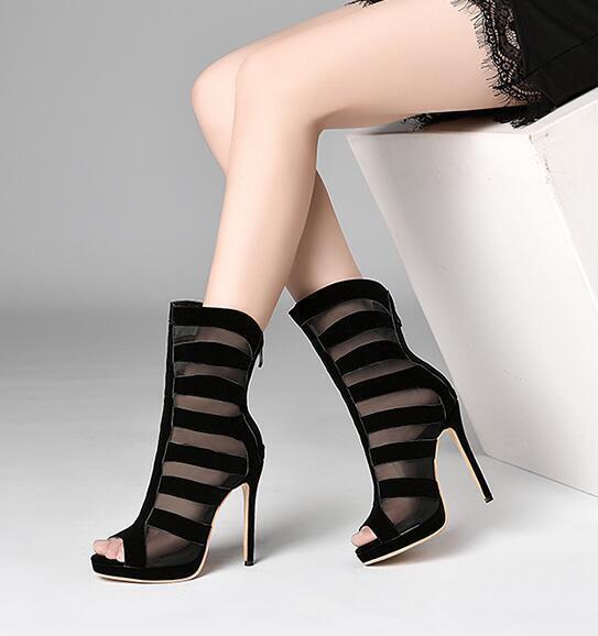 Women's Stilettos High High High Heels Peep Toe Zip Ankle Sandals Mesh Party shoes Plus ff749f