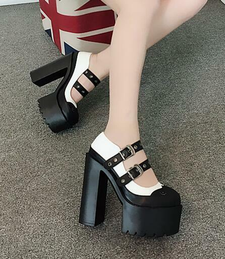 Womens Gothic Round Toe High Block Heels Platform Buckle Strap Nightclub Shoe D2