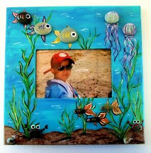 Picture Frame Hand Painted Under the Sea Wedding Beach Vacation Photo Frame