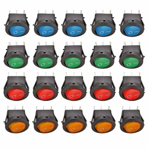 20 Stück KFZ Kippschalter Wippschalter beleuchtet rund EIN//AUS 3 PIN 12V 16A