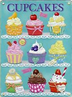 New 15x20cm CUPCAKES enamel style tin metal advertising sign chocolate, cherry