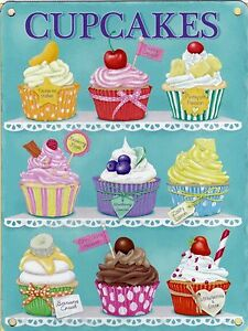 New-15x20cm-CUPCAKES-enamel-style-tin-metal-advertising-sign-chocolate-cherry