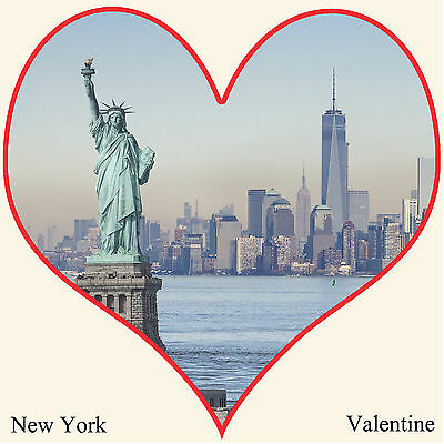New York Valentines Card, Statue of Liberty, Freedom Tower Square Card 149x149mm