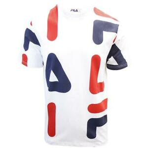 FILA-Men-039-s-White-Red-Navy-Letters-S-S-T-Shirt-S02D