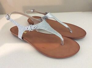 SANDALS SPARKLY SILVER FLAT SANDALS BY