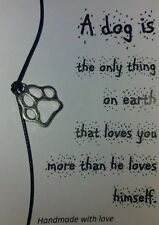 Handmade Dog Lovers Paw Wish String Friendship Bracelet Black Cord Card Gift