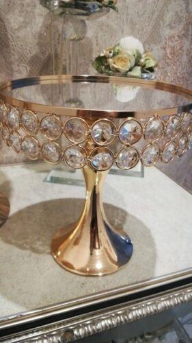 5pc Gold Électroplaqué Crystal Miroir Visage Fête de mariage gâteau Stand Set