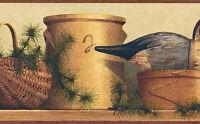Rustic Shelf Crocks & Duck Wallpaper Border