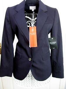 BNWT-PURE-Collection-Wool-Blend-Blazer-Jacket-Navy-UK-8-Tailored-Career-Smart